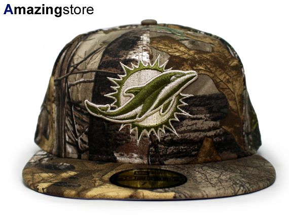 NEW ERA MIAMI DOLPHINS 【NFL TEAM-BASIC/REALTREE CAMO】 ニューエラ マイアミ ドルフィンズ 59FIFTY FITTED CAP フィッテッド キャップ [帽子 迷彩 camouflage リアルツリー 19_4RE]