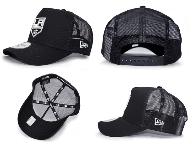 NEW ERA LOS ANGELES KINGS new gills Los Angeles Kings trucker mesh cap BLACK black black [hat headgear new era cap new gills cap 17_2_2MESH_17_2_3]