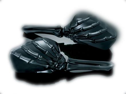 【ミラー】 スケルトンハンド ミラー ブラック Kuryakyn製 ハーレーパーツ