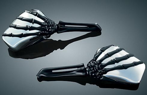 【ミラー】 スケルトンハンド ミラー ブラックステム/クロームヘッド Kuryakyn製 ハーレーパーツ