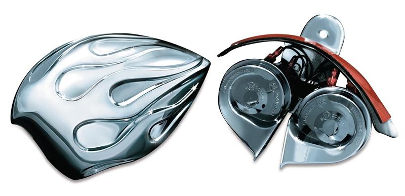 【7298】 Woloホーン FLAMEカバー 1992年以降純正カウベルホーンカバー装着車 ハーレーパーツ