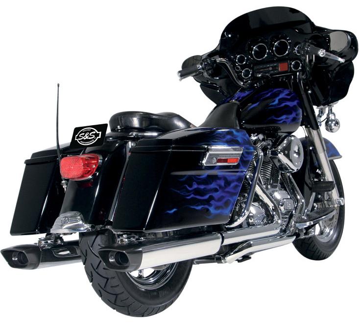 【18010906】S&S SPO オーバル スリップオンマフラー ツーリングモデル用 クロームボディー/ブラックエンド ハーレーパーツ
