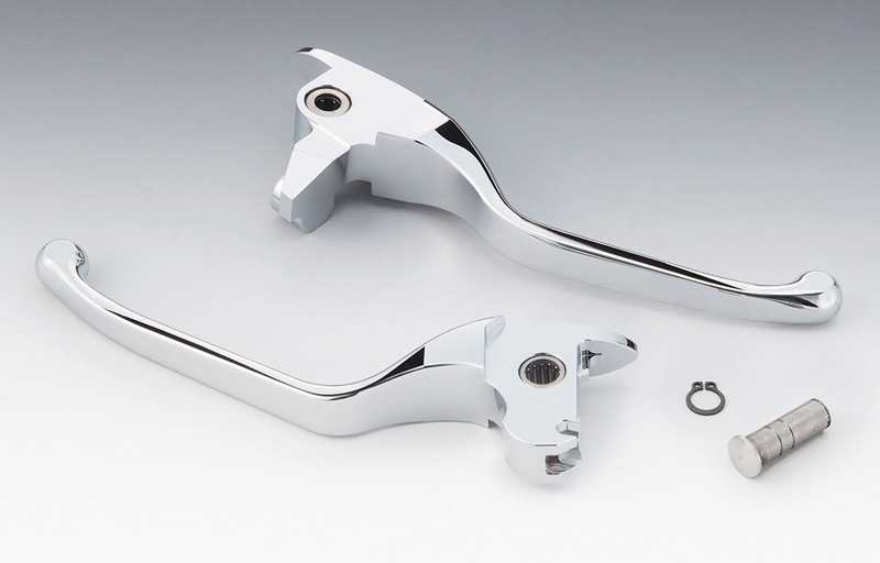 【hd-04377】 スリム ブレーキ&クラッチレバー アルミビレット クローム 14~16年ツーリングモデルでハイドロリッククラッチ装着車 ハーレーパーツ