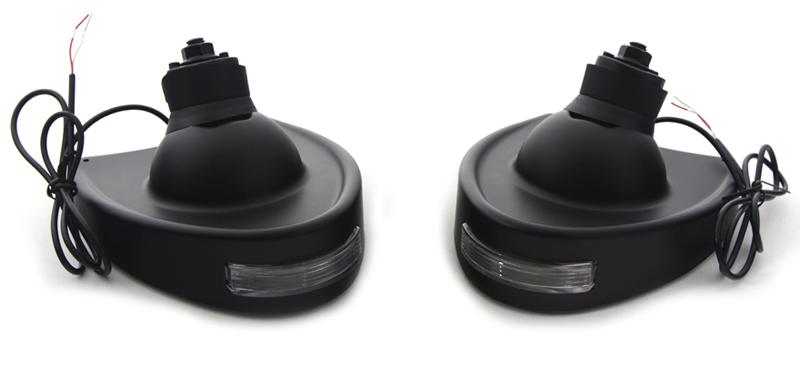 【34-1221】 フェアリングマウントミラー ターンシグナル付き ブラック ハーレーパーツ