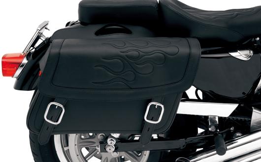 【サドルマン製】 HIGHWAYMAN タトゥーサドルバッグ ミディアム:ブラック ハーレーパーツ