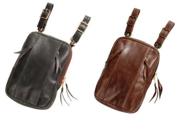 【w-49】Leather Holster Bag ブラック/ブラウン ハーレーアパレル