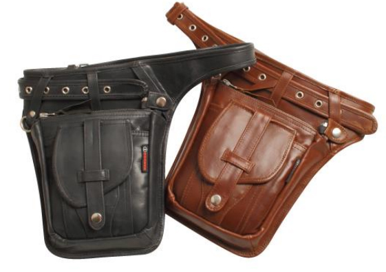 【w-27】Leather Waist Bag ブラック/ブラウン ハーレーアパレル