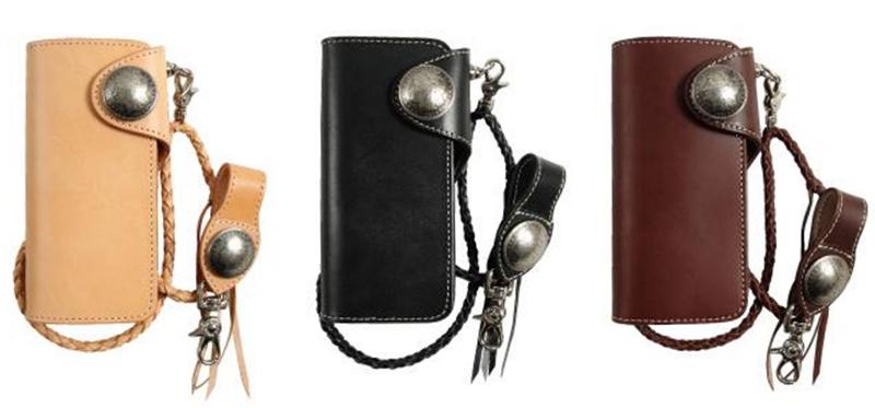 【w-9b】DEGNER Leather Long Wallet タン/ブラック/ブラウン ハーレーパーツ