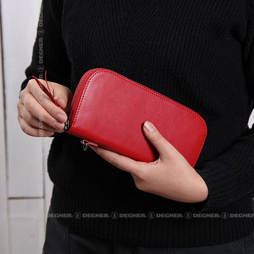 【w-92】 DEGNER Leather Zip Wallet レッド・タン・ブラック ハーレーパーツ