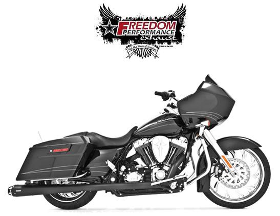 【マフラー】※送料無料※FREEDOM PERFORMANCE exhaust アメリカン アウトロー デュアルシステム2009年以降ツーリング用:(ブラック/ブラック) ハーレーパーツ