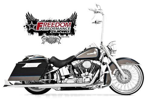 【マフラー】※送料無料※FREEDOM PERFORMANCE exhaust シャークテイル シグネチャー デュアルシステム2007年以降ソフテイル用:(クローム/36インチロング) ハーレーパーツ