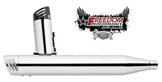 【マフラー】※送料無料※FREEDOM PERFORMANCE exhaust 3-1/4インチレーシングスリップオン ソフテイル用:2007年以降FXST、FLST、FXCW、FXSBモデルに適合(クローム/クローム) ハーレーパーツ