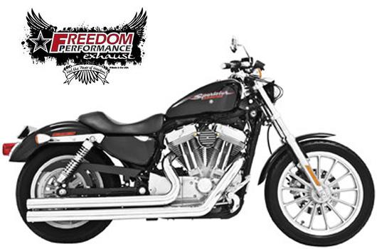 【マフラー】※送料無料※FREEDOM PERFORMANCE exhaust インディペンデンスロング スポーツ用:2004~13年に適合(クローム) ハーレーパーツ