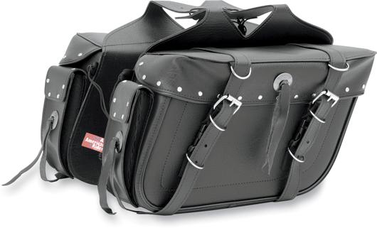 【サドルバッグ】 All American Rider エクストララージ ボックススタイル スラントサドルバッグ リアポケット付き (リベット) ハーレーパーツ