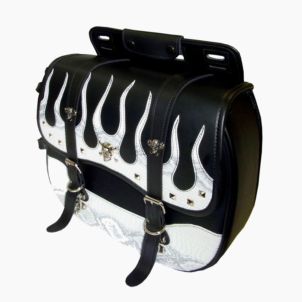 【yff-102-3sb】Xross SADDLE SINGLE サドルバッグ サイドバッグ YFFシリーズ ホワイトパイソン ハーレーパーツ