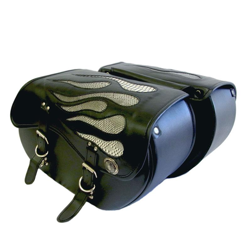 【mfh-407c】 Xross BASIC DOUBLE サイドバッグ ダブルバッグ MFHシリーズ グレーパイソン ハーレーパーツ