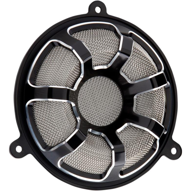 【44050478】 Arlen Ness フロント スピーカーグリル BEVELED:ブラック ハーレーパーツ
