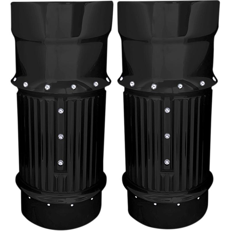 【04110104】 DIMPLED フォークブーツ カバー ブラック 2014年以降ツーリング、トライク ハーレーパーツ
