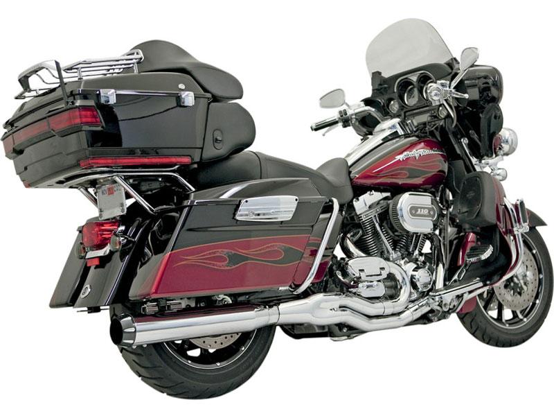 【18001360】Bassani B4 2in1マフラー ストレートカンスタイル クローム 1995~16年ツーリング ハーレーパーツ