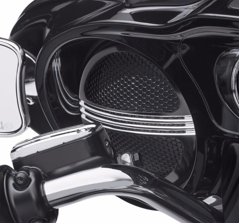 【76000687】 ディファイアンス フロントスピーカートリム ブラックマシンカット ハーレー純正パーツ