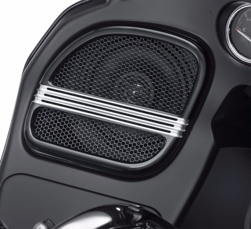 【76000693】 ディファイアンス フロントスピーカートリム ブラックマシンカット ハーレー純正パーツ