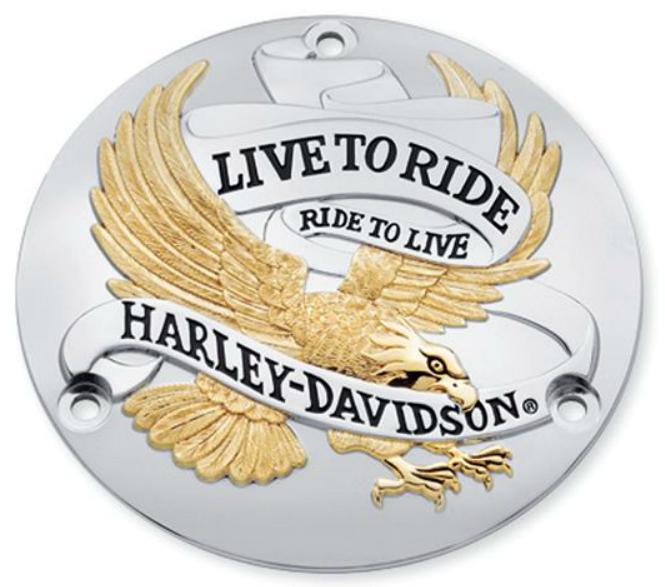 【25391-90T】 LIVE TO RIDE・コレクション/ゴールド・ダービーカバー ハーレー純正パーツ