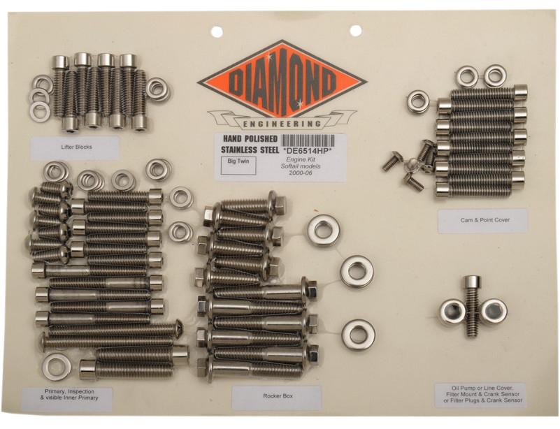 【24010264】 ポリッシュステンレススチール エンジンキット ソフテイル用:2000~06年ソフテイルモデルに適合/OEMスタイル