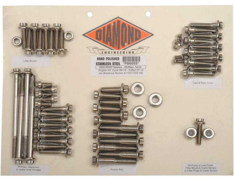 【24010248】 ポリッシュステンレススチール エンジンキット ダイナ用:2006~17年ダイナモデルに適合/12-Pointスタイル