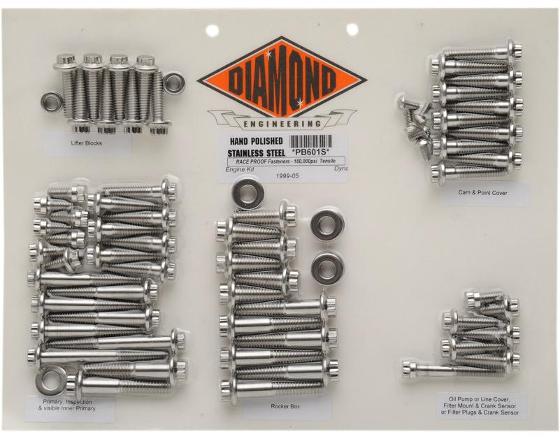 【24010144】 ポリッシュステンレススチール エンジンキット ダイナ用:1999~05年ダイナモデルに適合/12-Pointスタイル