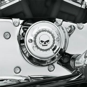 【25600003】 スカル&チェーン・タイマーカバー/ジュエルスカル ハーレー純正パーツ