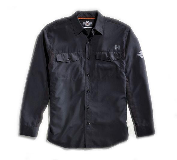 【99018-15vm】Black Long Sleeve Performance Shirt S/M/L/XLハーレーアパレル