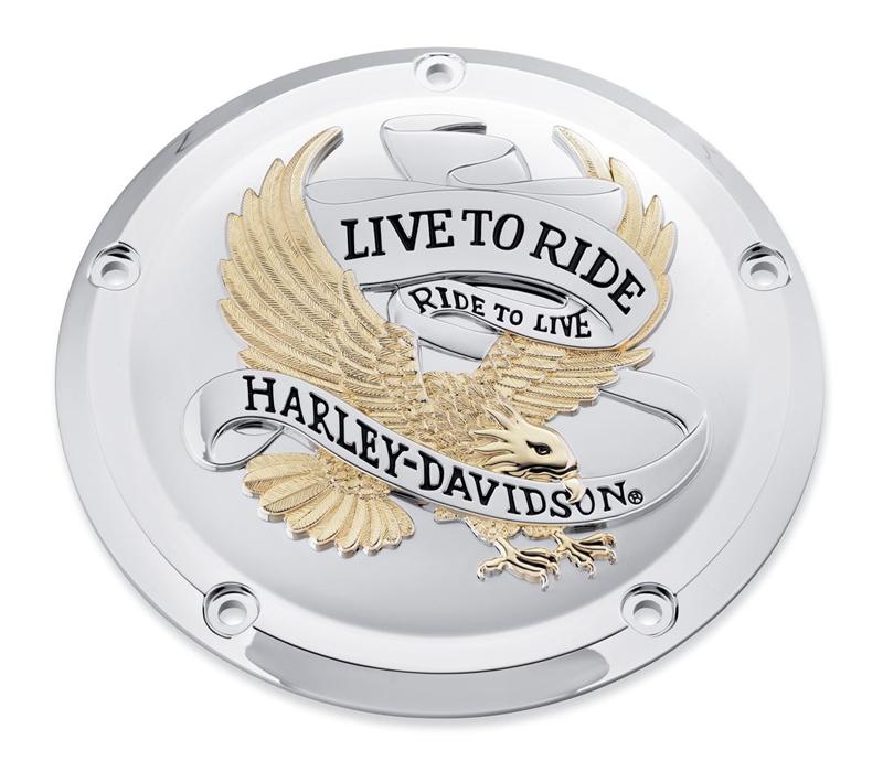【25700472】 LIVE TO RIDE・コレクション/ゴールド・ダービーカバー ハーレー純正パーツ