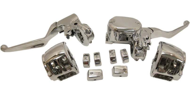 【06100802】 クローム ハンドコントロールキット 2004年以降スポーツスター用/シングルディスクブレーキ用 ハーレーパーツ