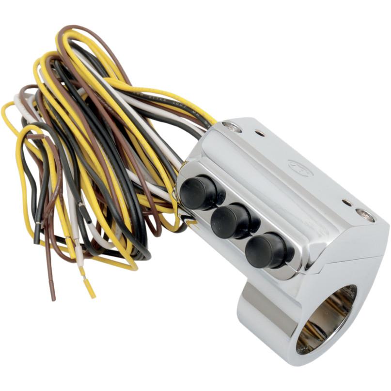 【06160100】 クラッチコントロール スイッチ 3ボタン:左側(ハイドロリッククラッチ):クローム ハーレーパーツ