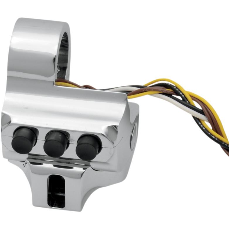 【21060203】 Contour スイッチハウジングFL用:ケーブルクラッチ/4ボタン/クローム ハーレーパーツ