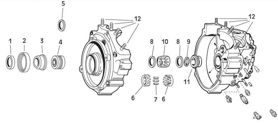 """【【1】 DS197035】 クランクケース コンポーネント ショベルヘッド用:Sprocket shaft spacer kit .336""""-.666"""" 1966-69 (8-piece)"""