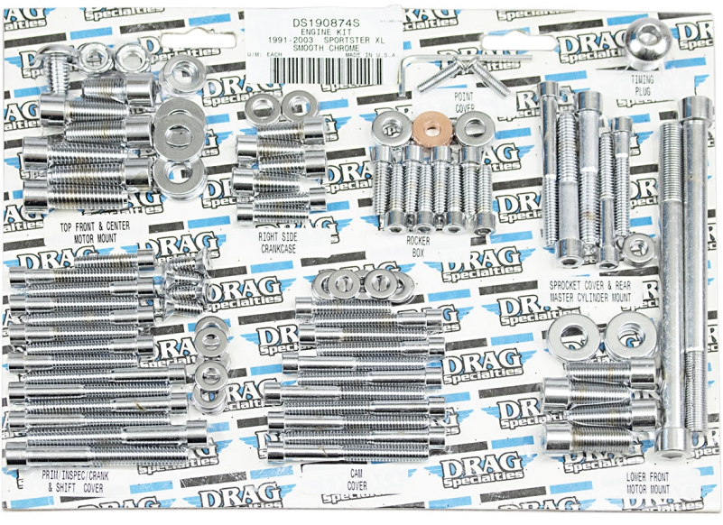 【DS190874S】 エンジンボルトキット スポーツスター用:1991~03年スポーツスターモデルに適合/SMOOTH