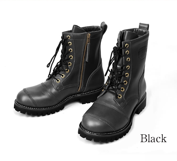 【hs-b12】 DEGNER シフトガード付レザーZIPブーツ/LEATHER ZIP BOOTS WITH SHIFT GUARD [HS-B12]