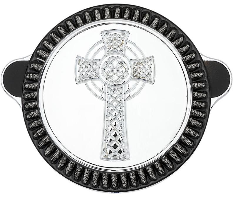 【10101846】 FUSION Celtic Cross エアクリーナー クローム:1993~17年エボリューション、ツインカムモデルに適合(但し2016年以降FXDLS、ソフテイル、2008年以降ツーリング、1996~01年ツーリングEFI車は除く)