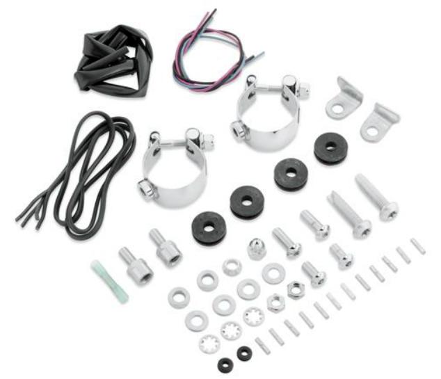 【58361-03】 デタッチャブル・ウインドシールド ドッキングハードウェア:1993~05年FXDWGで補助ライトキット装着車 1984~10年FXST、FXSTC、FXSTBで補助ライトキット装着車