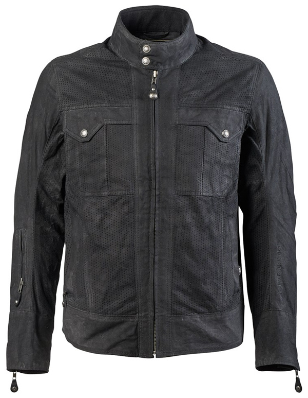 【rd8616】 Duro Perforated Waxed Cotton Jacket ブラック、レンジャー ハーレーアパレル