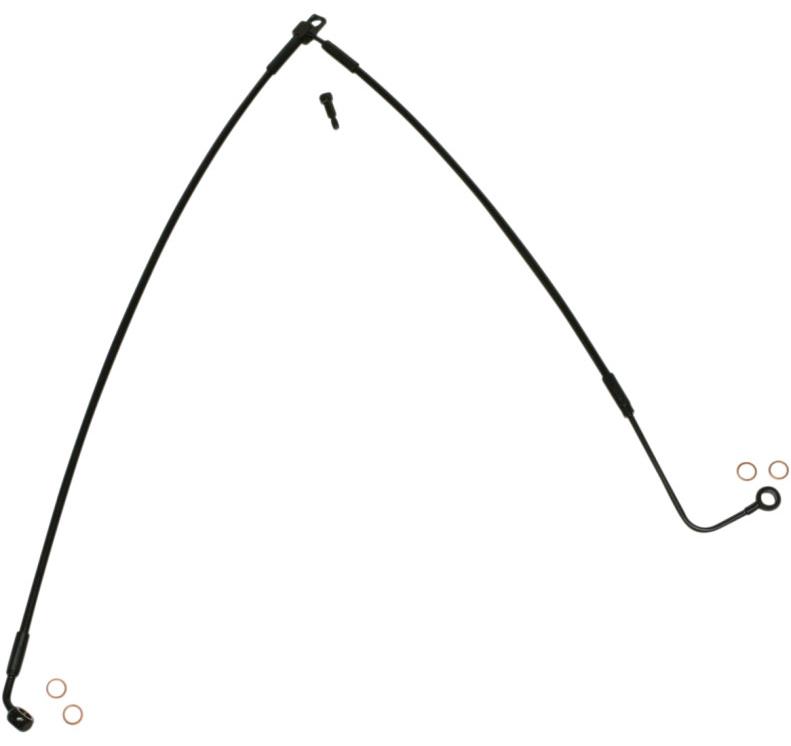 【17415579】 フロントLOWERブレーキライン 2011年以降ソフテイル用 ブラック:長さ:51cm (20-1/4)/バンジョー角度:Lower70°