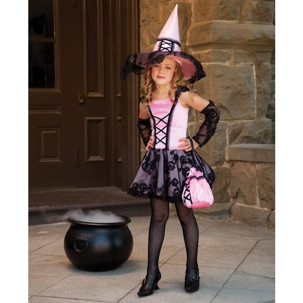ドレス ピンク 黒レース 魔女 衣装、コスチューム 子供女性用 コスプレ