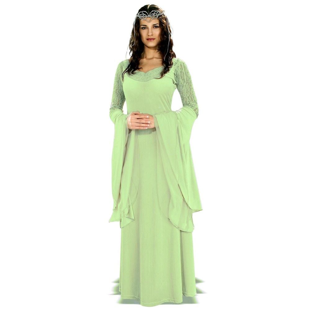 ロードオブザリング DLX 衣装、コスチューム 大人女性用 ドレス アルウェン グリーン コスプレ
