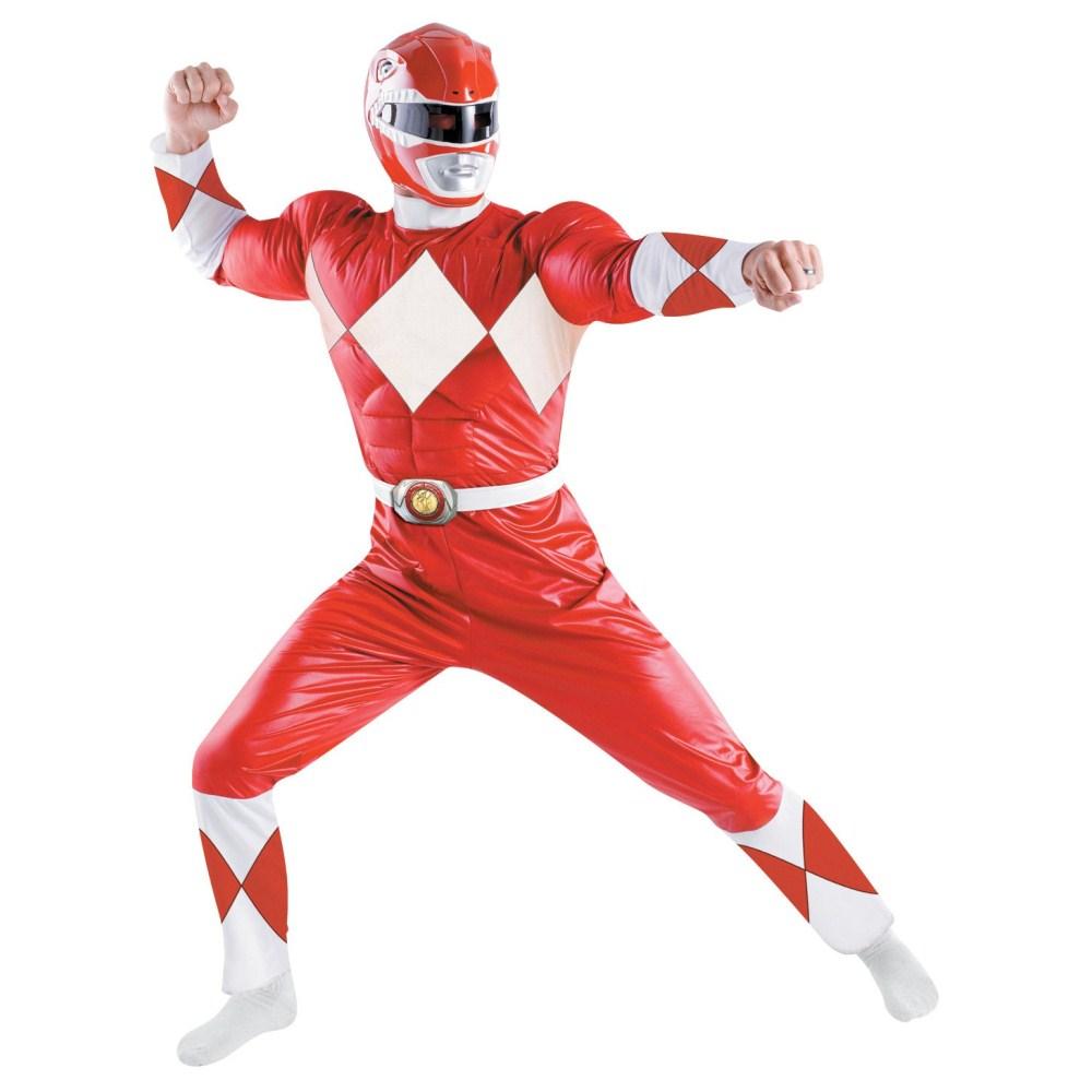 パワーレンジャー ヒーロー 衣装、コスチューム Classic 大人男性用 Red Ranger