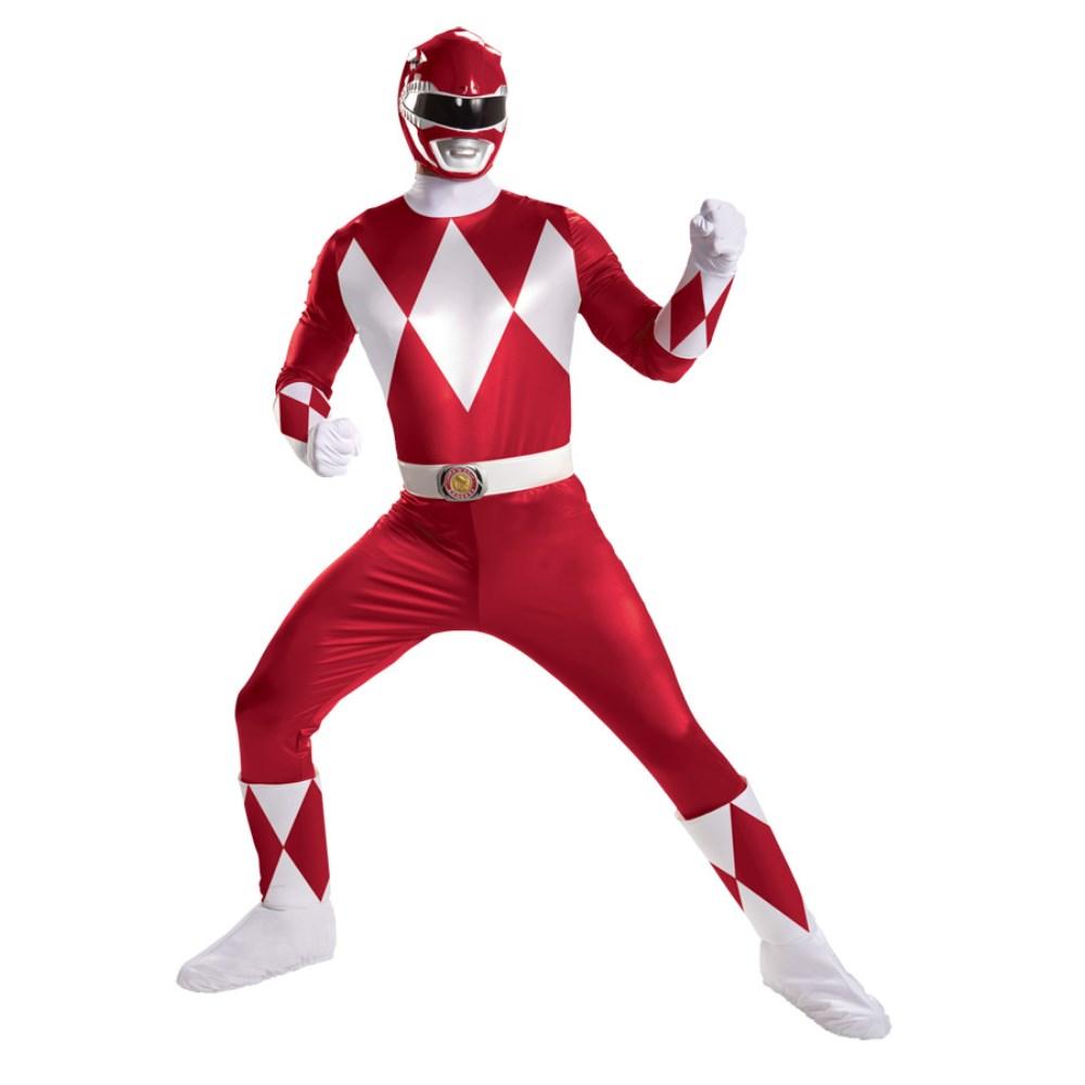 パワーレンジャー ヒーロー 衣装、コスチューム SUPER DELUXE 大人男性用 Red Ranger