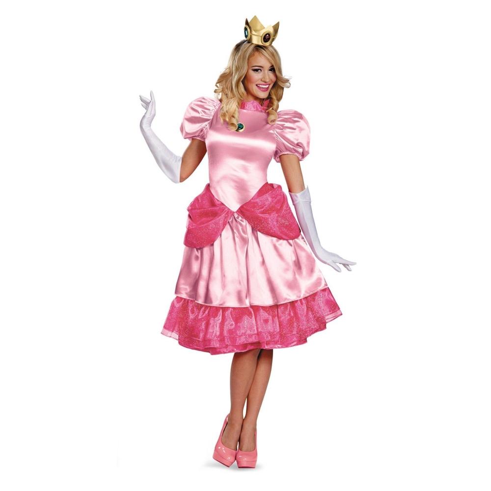 【在庫一掃】 ピーチ姫 衣装、コスチューム 大人女性用 Deluxe スーパーマリオ, 高質 460639d2