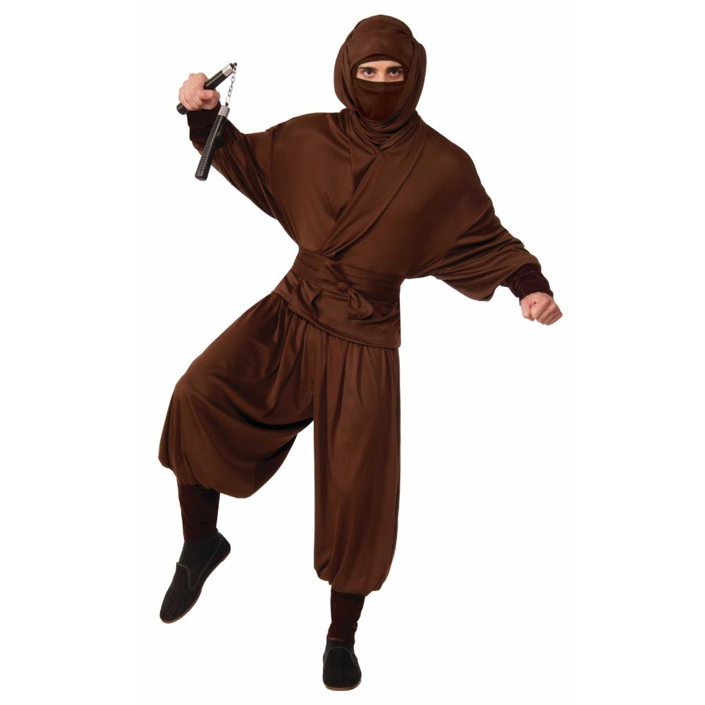 忍者 衣装、コスチューム 大人男性用 ブラウン 和風 NINJA WARRIOR コスプレ