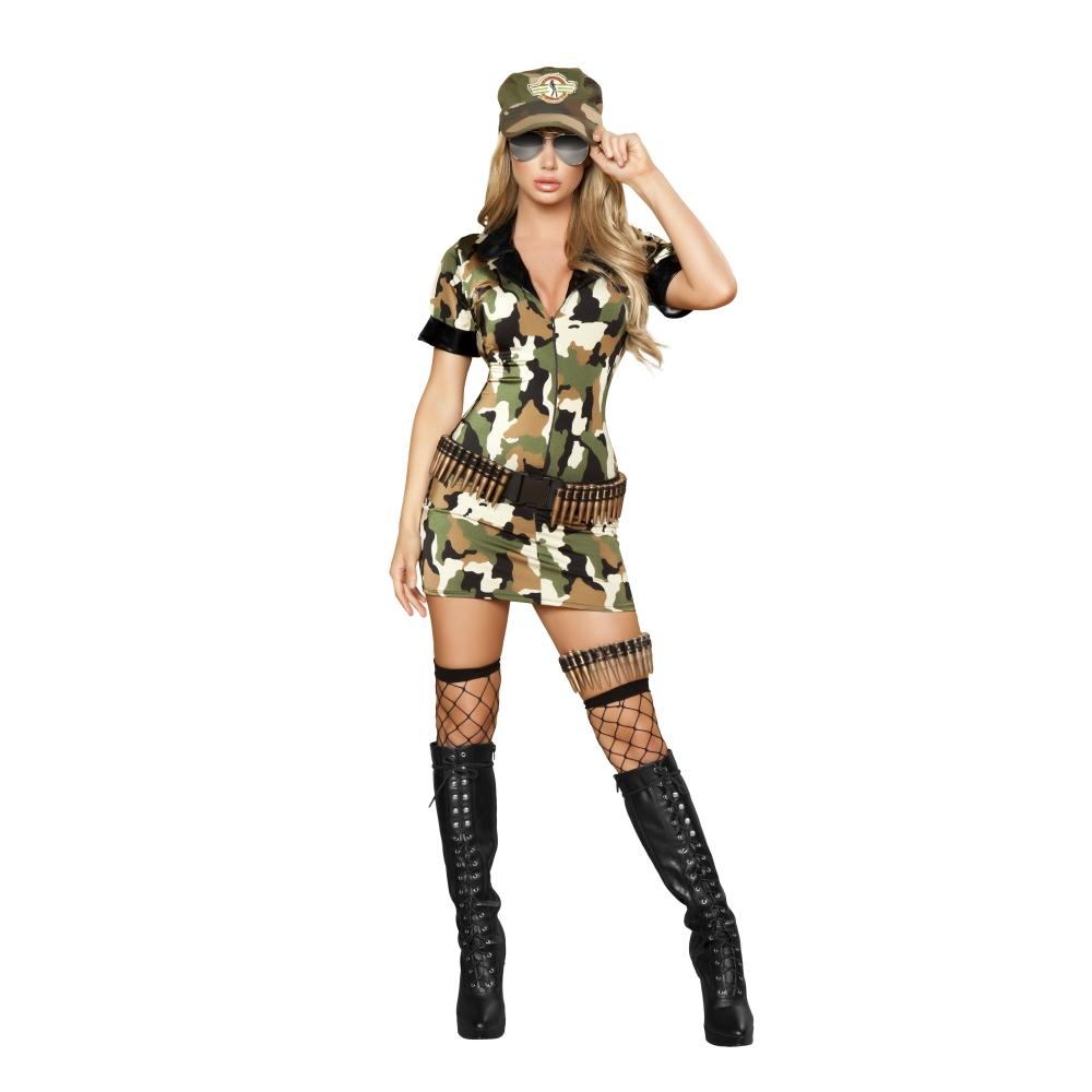 戦士 アーミー カモフラージュ柄 衣装、コスチューム 女性大人用  3pc Militia Babe