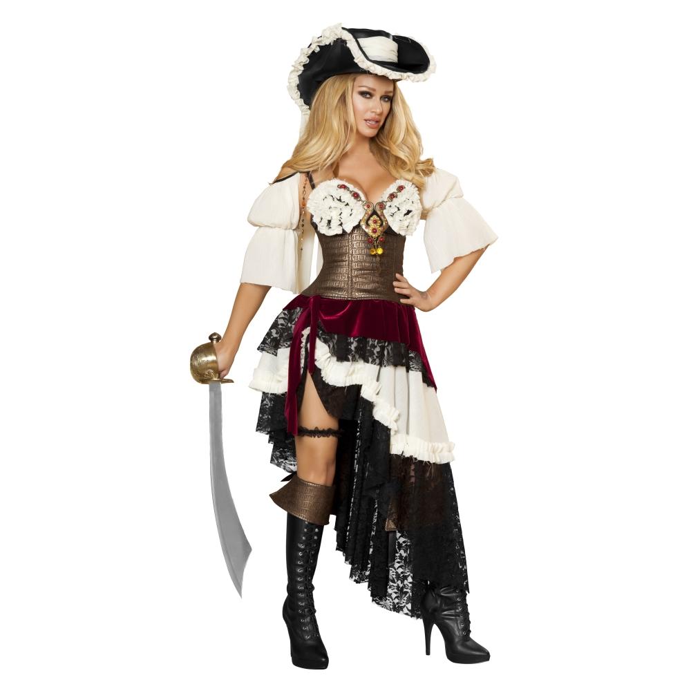 海賊 黒、白、ゴールド 衣装、コスチューム 女性大人用  3pc Sexy Pirateer コスプレ